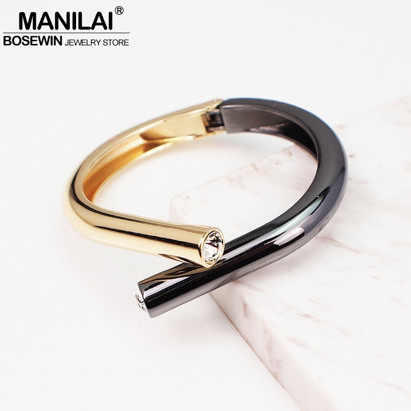 MANILAI Punk Alloy Crystal Bangles Bracelets For Women Fashion Design Statement Geometric Cuff Bangles Jewelry Mixed Color - Slabiti