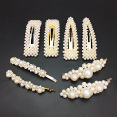 MANILAI Simulated pearl Hair Clips For Women Handmade Beaded Hairpins Wedding Hair Jewelry Female Gifts Wedding Hair accessories - Slabiti