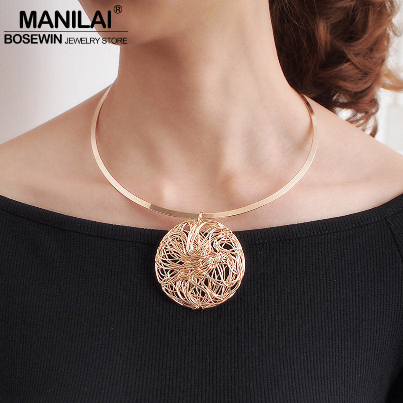 MANILAI Torques Choker Necklace For Women Big Metal Wire Statement Pendants Necklaces Collar Jewelry Wholesale 2019 - Slabiti