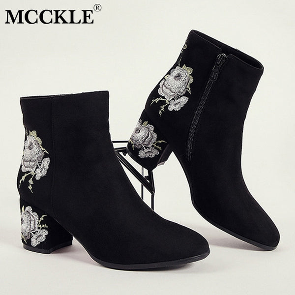 MCCKLE Ankle Boots For Women Winter Warm Plush Fashion Embroider Short Boots Ladies High Heels Round Toe Casual Shoes Zip Mujer - Slabiti