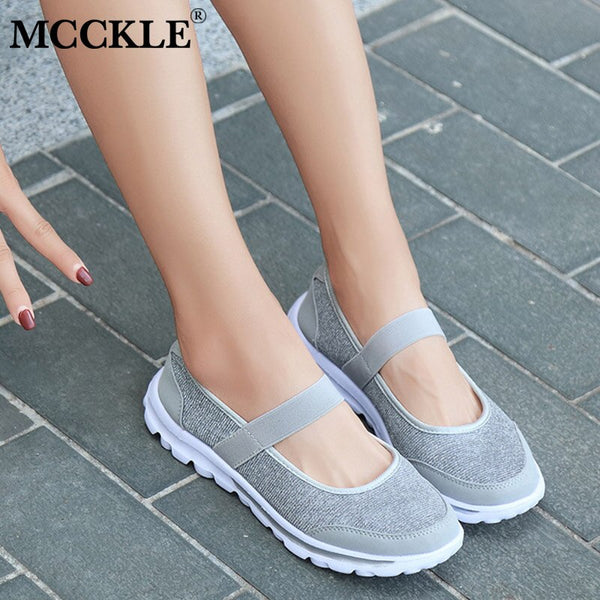 MCCKLE New Autumn Vulcanized Shoes Women Mesh Female Platform Elastic Band Casual Footwear For Ladies Cloth Flat Shoes Plus Size - Slabiti