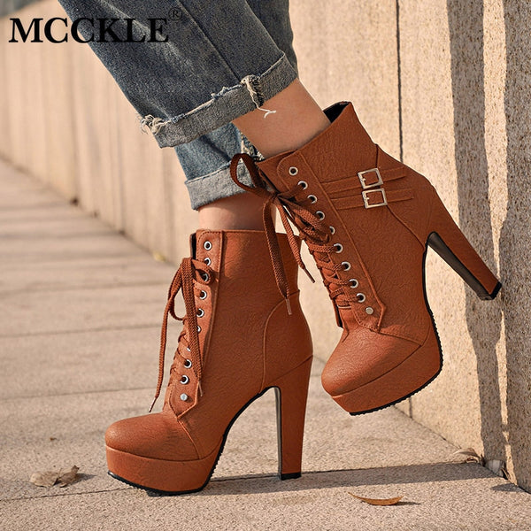 MCCKLE Plus Size Ankle Boots Women Platform High Heels Female Lace Up Women's Shoes Buckle Woman Short Boot Ladies Footwear - Slabiti