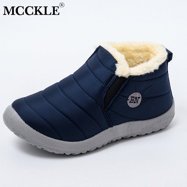 MCCKLE Snow Boots Women Shoes Warm Plush Fur Ankle Boots Winter Female Slip On Flat Casual Shoes Waterproof Ultralight Footwear - Slabiti