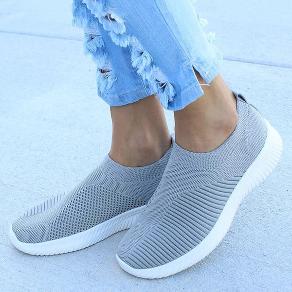 MCCKLE Spring Shoes Women Sneaker Air Mesh Soft Female Sock Knitted Vulcanized Shoes Casual Slip On Ladies Flat Women's Footwear - Slabiti