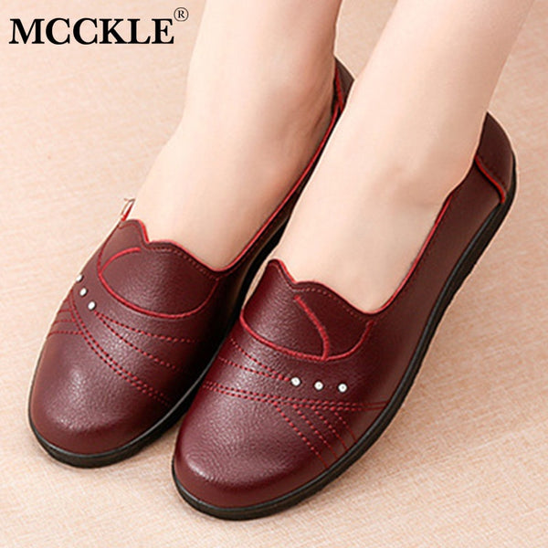 MCCKLE Spring Women Flat Shoes Leather Casual Loafers Female Fashion Slip On Moccasins Mother Shoes Comfort Ladies Footwear - Slabiti