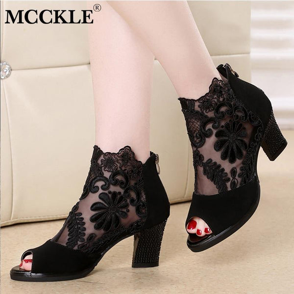 MCCKLE Summer Mesh Peep Toe Sandals Sexy Heels Single Shoes Lace Pumps Woman High Heel Fashion Women Shoes Platform Ladies 2020 - Slabiti