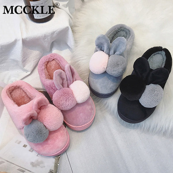 MCCKLE Winter Shoes Women Home Slippers Cotton Lovers Shoes Cute Cartoon Rabbit Slippers Home Floor Soft Slippers Comfort Female - Slabiti