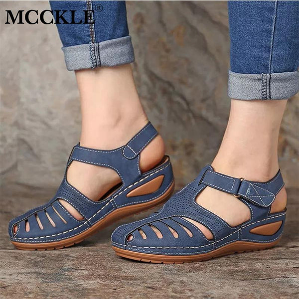 MCCKLE Woman Summer Leather Vintage Sandals Buckle Casual Sewing Women Shoes Female Ladies Platform Retro Sandalias Plus 35-44 - Slabiti