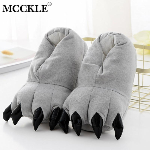 MCCKLE Women Animal Paw Flat Indoor Slippers Woman Fashion Cotton Ladies Slip On Warm Couple Women's Female Shoes Plus Size - Slabiti