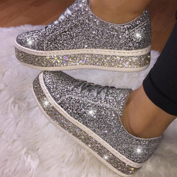 MCCKLE Women Glitter Sneakers Bling Flats Woman Spring New Casual Ladies Vulcanized Shoes Female Comfort Lace Up Fashion Shoes - Slabiti