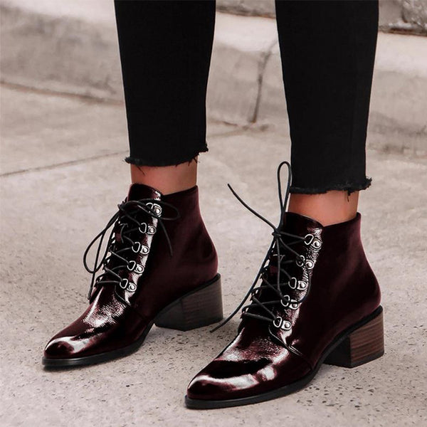 MCCKLE Women Pointed Toe Ankle Boots Patent Leather Spring Lace Up Ladies Boots Female Square Heels Retro Shoes Woman Footwear - Slabiti
