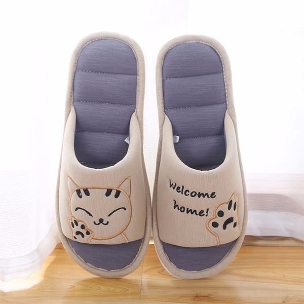 MCCKLE Women Soft Home Flat Cat Slippers Warm Cotton Cross Woman Shoes Fashion Slippers Floor Comfort Female Couple Style - Slabiti