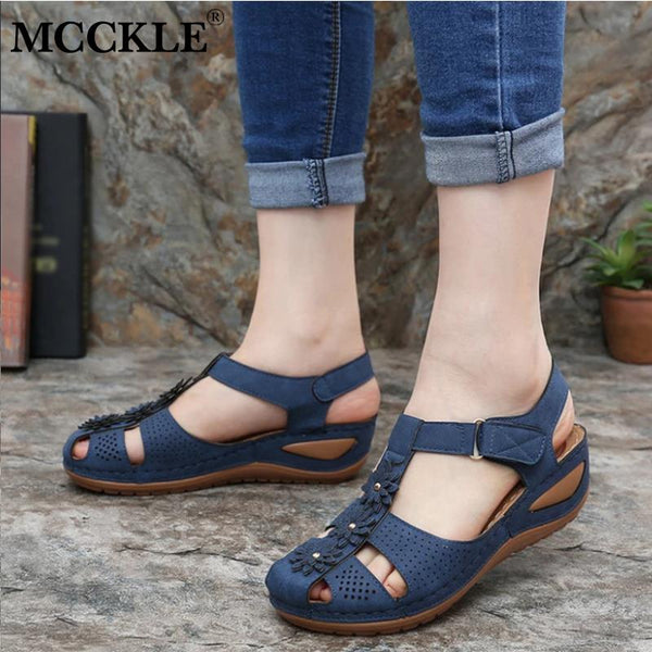 MCCKLE Women Summer Sandals Casual Retro Wedge Shoes Woman Hollow Buckle Platform Ladies Slippers Soft Comform Female Footwear - Slabiti