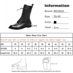 MCCKLE Women Vintage Mid Calf Boots Women's PU Leather Fashion Lace Up Ladies Comfort Woman Shoes Boots Casual Female Footwear - Slabiti