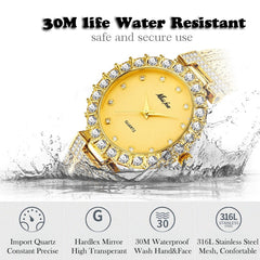 MISSFOX Women Watches Luxury Brand Watch Bracelet Waterproof Big Lab Diamond Ladies Wrist Watches For Women Quartz Clock Hours - Slabiti