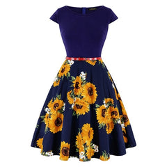MISSJOY Plus size 4XL Dress kleding vrouwen Vintage Elegant Cap Sleeve Lemon Flower Print pin up fashionable dresses kerst jurk - Slabiti