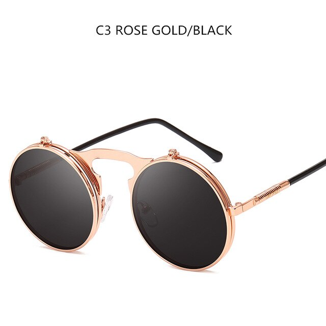 MOLNIYA New Steampunk Sunglasses Round Metal OCULOS De Sol Women Style Retro Flip Circular Double Metal Sun Glasses Men - Slabiti