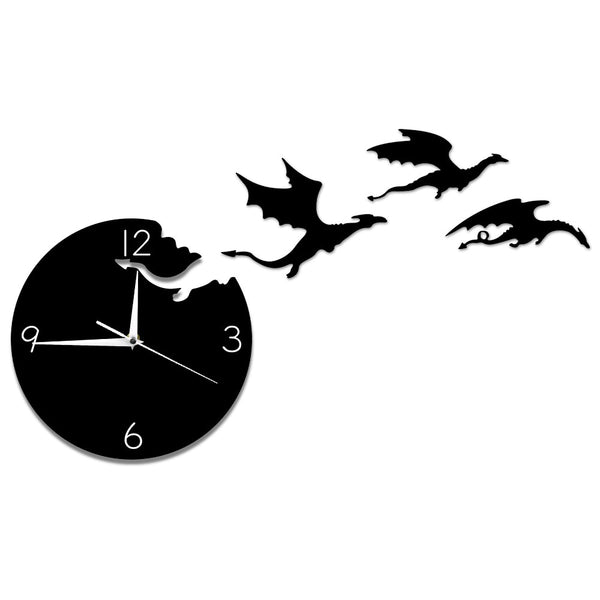 Magic Flying Angry Fantasy Dragon Wall Clock Abstract Gothic Fairytale Dragon Wall Art Quartz Analog Quiet Decorative Wall Watch - Slabiti