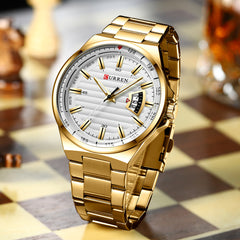 Man Brand Luxury Watch Gold White Top Brand CURREN Watches Stainless Steel Quartz Wristwatch Auto Date Clock Male Relogio - Slabiti