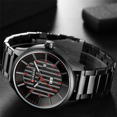 Man Watch Black Quartz Stainless Steel Wristwatch 2018Luxury Brand CURREN Casual Business Watches with Date and Week Window - Slabiti