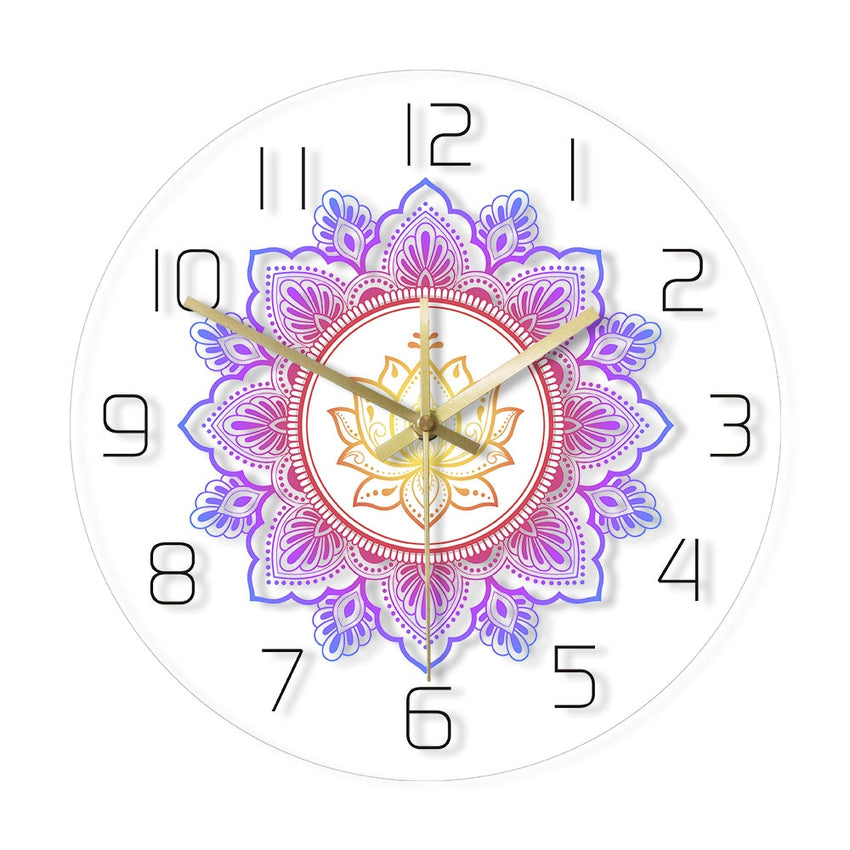 Mandala with Lotus Flower Modern Wall Clock OM Studio Sign Living Room Bedroom Bohemian Wall Decor Psychedelic Wall Clock Watch - Slabiti