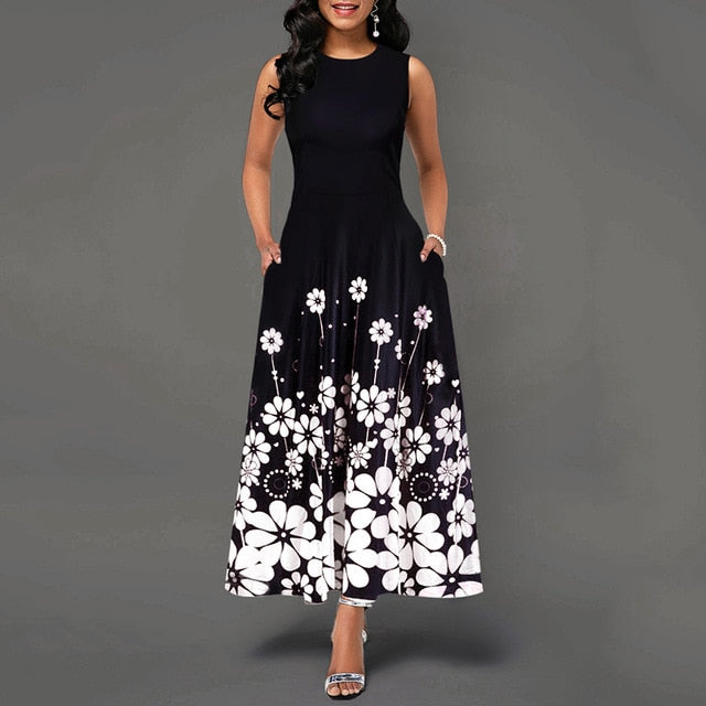 Maxi Elegant Party Dress Women Sleeveless Floral Ankle-Length Female Black Summer Ladies Dress A-line Long Dress robe femme D25 - Slabiti