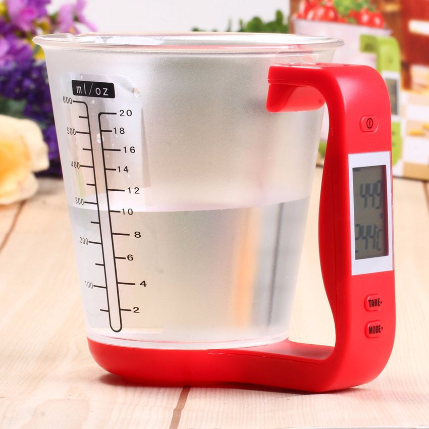 Measuring Cup Kitchen Scales Digital Beaker Libra Electronic Tool Scale with LCD Display Temperature Measurement Cups Hostweigh - Slabiti