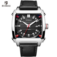 Mechanical Watch Men Wrist Automatic Retro Business Watches Men Waterproof Black Leather Watch Clock Montre Homme  Wristwatch - Slabiti