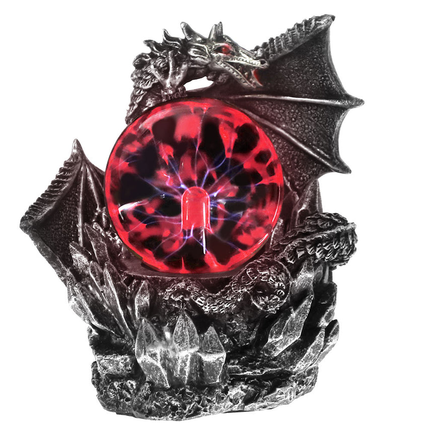 Medieval Dragon Resin Statue Dark Dragons Guardian Halloween Touch Responsive Electric Plasma Gazing Ball Gothic Orb Lighting - Slabiti