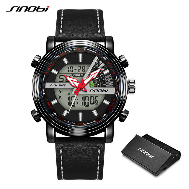 Men Watch SINOBI Black Casual Leather Belt Fashion Digital Watch Mens Watches Top Brand Luxury Waterproof Clock Homme Saati Free - Slabiti