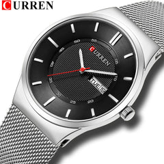 Men Watches Simple Style Stainless Steel Mesh Wristwatch CURREN New Quartz Male Clock With Week and Date Reloj Waterproof Hombre - Slabiti