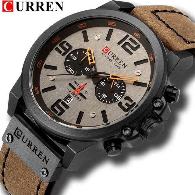 Men's Watches 2018 Luxury Brand CURREN Reloj Hombre Casual Quartz Leather Wristwatch Chronograph and Date Window Waterproof 30M - Slabiti
