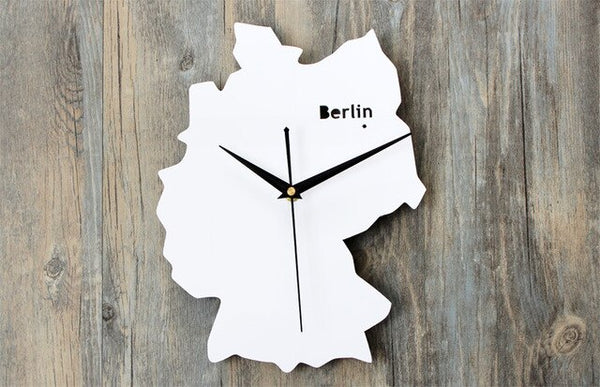 Metal Germany Berlin Creative Personality Art Mute World Map Clock 12inch 14inch Souvenir Shop Clock - Slabiti