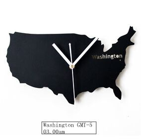 Metal USA America Washionton Map Clock 12inch 14inch Souvenir Shop Study Room Wall Clock - Slabiti