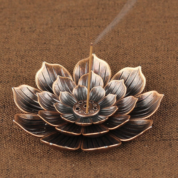 Metal Zen Lotus Buddha Incense Burner Incense Diffuser Incense Stick Holder Censer Buddhist Aromatherapy Use In Office Teahouse - Slabiti