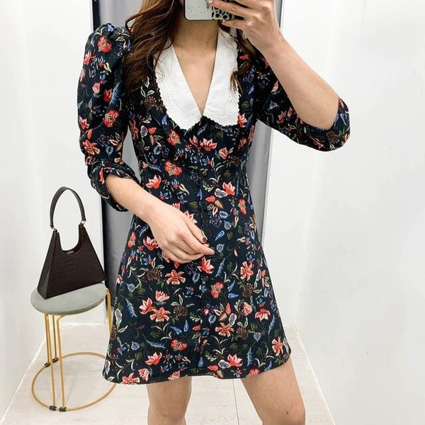 Mini-Dress Pleated Floral-Print Chic Sundress Floral Print Casual Dress Female  Vestidos Chic Dresses - Slabiti