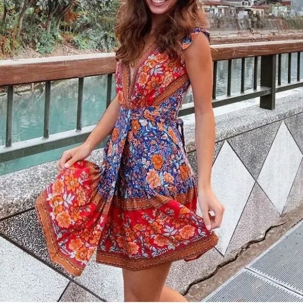 Mini Dress Summer Dress Floral Boho Beach Dress Vintage Ruffles Short Sleeve Party Sundress Vestidos Plus Size - Slabiti
