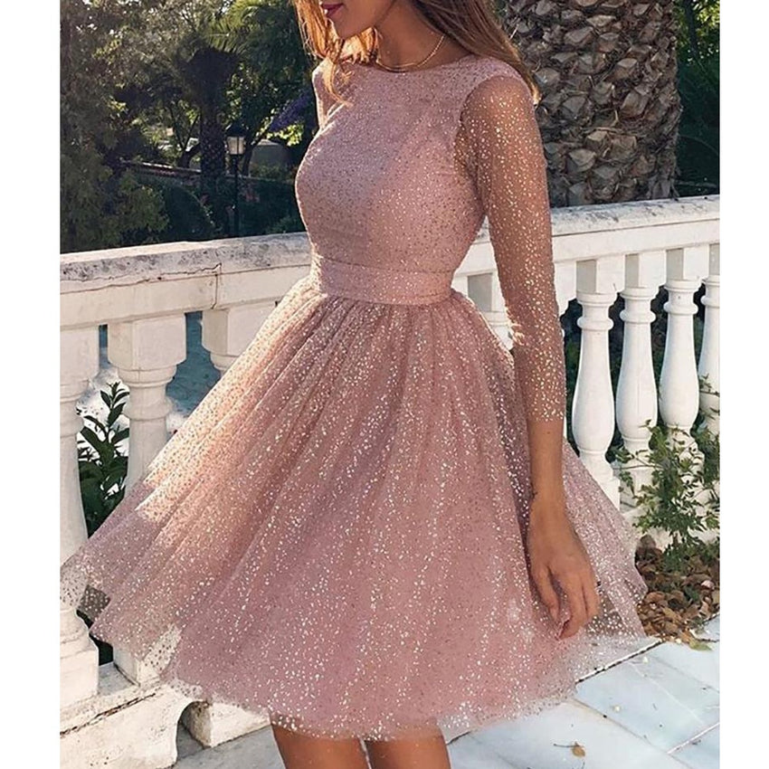 Women Sexy O Neck Long Sleeve Backless Glitter Dresses Female Elegant Pleated Dress  FT19668 - Slabiti