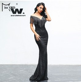 Missord 2019 Women Sexy O Neck Mesh Tassel  Dresses Female Glitter Dress Elegant Maxi Bodycon Party Dress FT19008-1 - Slabiti