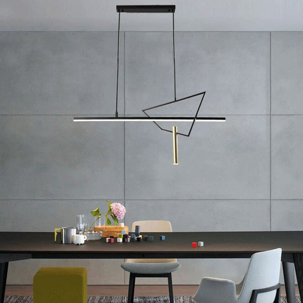 Modern Geometric pendant lamps Nordic design restaurant cafe bar long strip creative hanging light dining room kitchen fixtures