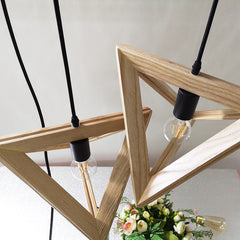 Modern Triangle wood Pendant lights dia 32 36cm geometry shape droplights for restaurant cafe dining room hanglamp light fixture - Slabiti