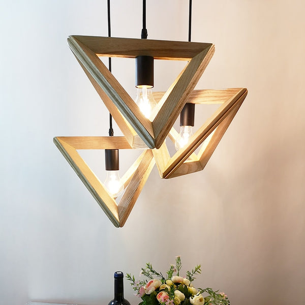 Modern Triangle wood Pendant lights dia 32 36cm geometry shape droplights for restaurant cafe dining room hanglamp light fixture