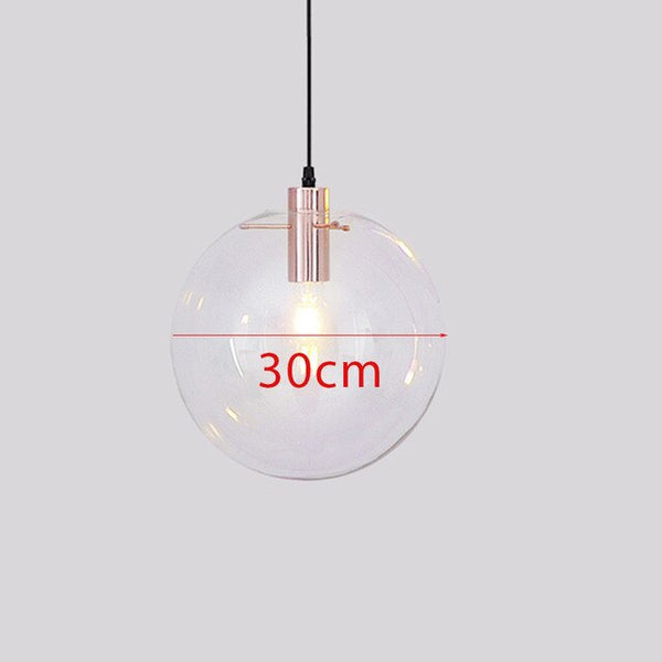 Modern brief Glass Ball pendant Lamps dia 15-30cm clear glass shade Hanging Lamp Suspension for Dining Room Bar Restaurant lamp