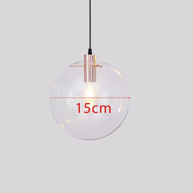 Modern brief Glass Ball pendant Lamps dia 15-30cm clear glass shade Hanging Lamp Suspension for Dining Room Bar Restaurant lamp - Slabiti