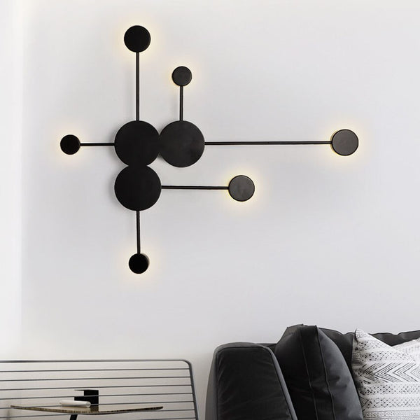 Modern indoor Round Dot  wall lights creative Black Gold White shade led wall lamp bathroom bedroom wall sconces luminaire