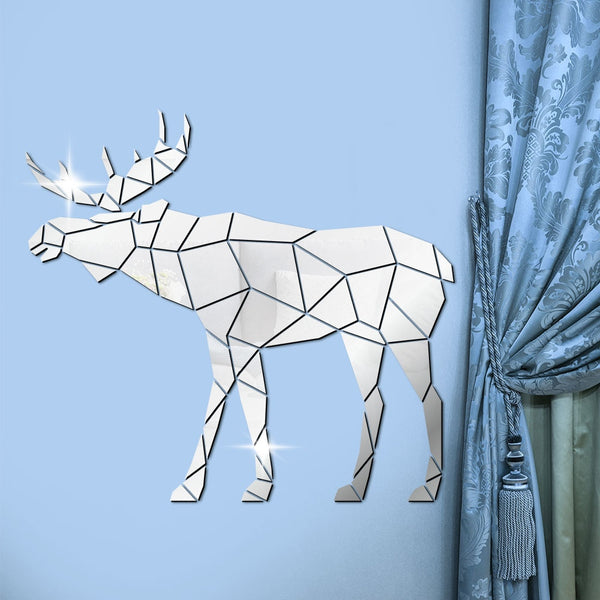 Moose Polygonal Wall Stickers Wild Animal Hunting Modern Home Decor Deer Geometric DIY Acrylic Mirror Stickers Mural Hunter Gift - Slabiti