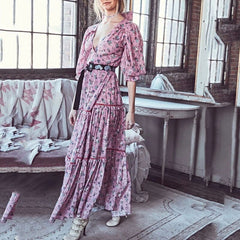Multicolor Tropical Boho Long Dress Long Sleeve  Women 2020 Party Night Elegant Sexy Maxi Summer Dresses - Slabiti