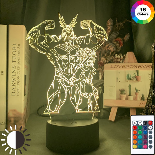 My Hero Academia All Might and Denki Kaminari Figure Led Night Light for Kids Child Birthday Gift Bedroom Colorful Table Lamp - Slabiti