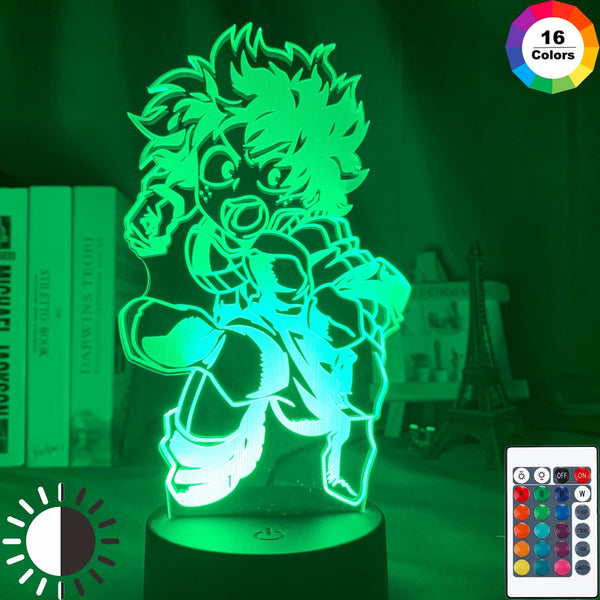 My Hero Academia Led Night Light Lamp Midoriya Izuku Figure Nightlight for Kids Bedroom Decoration Cool Birthday Gift 3d Lamp - Slabiti