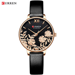 NEW CURREN Watches for Women Casual Leather Strap Quartz Wristwatch Luxury Top Brand Gold Clock Watch Female Classy Ladies Watch - Slabiti